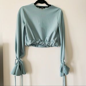 Missguided light blue long sleeve crop top